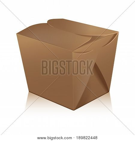 Closed blank takeout wok box mockup. Vector 3d packaging. Carton box for asian or chinese take away food paper bag for your design