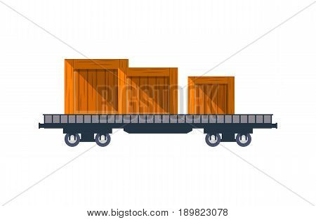 Railway cargo truck with wooden boxes icon. Side view freight container, cargo train on railroad isolated on white background vector illustration.