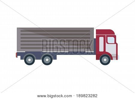 Freight truck isolated icon in flat design. Modern lorry truck side view, vehicle for cargo transportation, trucking and delivery service vector illustration