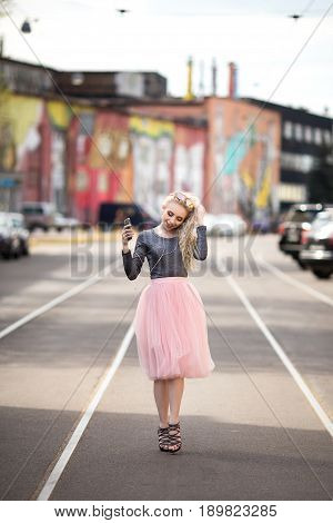 Сute Young smiling girl making selfie. Lifistyle.