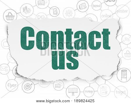 Marketing concept: Painted green text Contact Us on Torn Paper background with Scheme Of Hand Drawn Marketing Icons