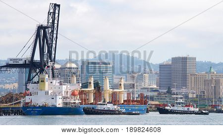 Oakland CA - June 01 2017: Bulk carrier MOUNT HIKURANGI departing the Port of Oakland the fifth busiest port in the United States.