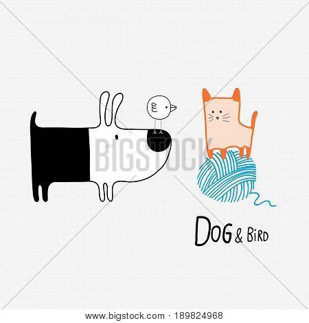 Dog & Bird meeting a Cat vector illustration