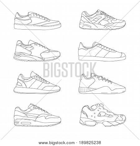 Set of modern sneakers. Sports shoes collection. Casual footwear, side view. Hand drawn black and white vector illustration