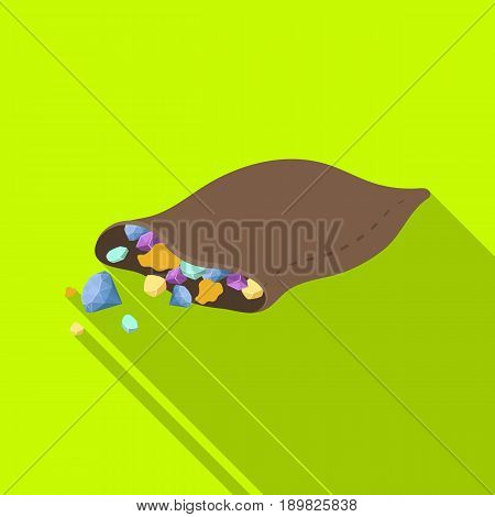 A leather bag with diamonds and precious stones.African safari single icon in flat style vector symbol stock illustration .