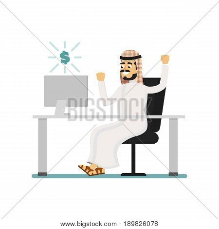 Muslim businessman working on computer. Arabian man in traditional clothing sitting at office table, business people vector illustration. Muslim businessman characters. Muslim businessman cartoon style. Businessman at the work.