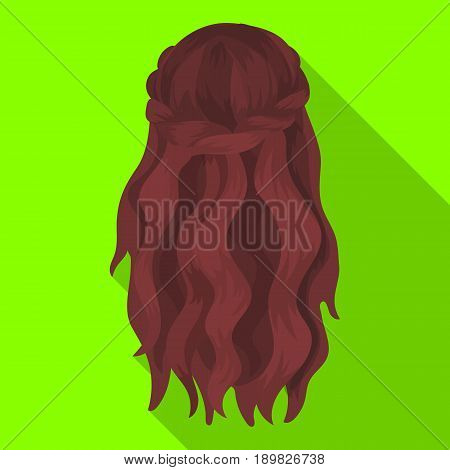 Dark, loose hair behind.Back hairstyle single icon in flat style vector symbol stock illustration .