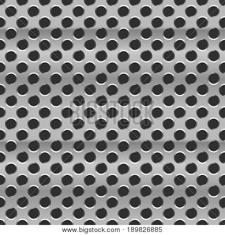 Glossy metal grid with round holes on black seamless pattern