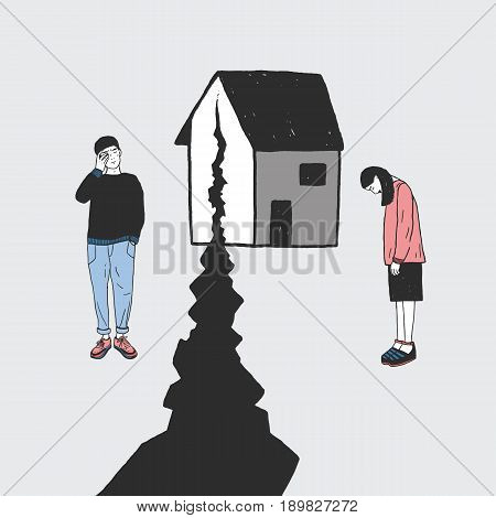 Concept of divorce, crack in relationships, family split. Sad girl and guy after parting. Vector colorful hand drawn illustration