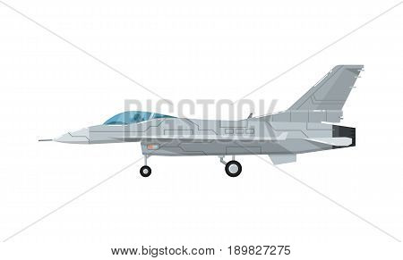 Military jet assault aircraft isolated icon. Modern army force aviation, air transport, supersonic combat airplane, jet plane vector illustration