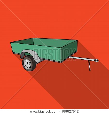 Trailer with sides for the car.Car single icon in flat style vector symbol stock illustration .