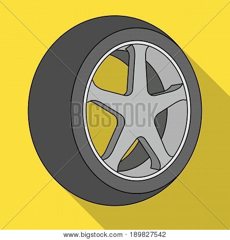 Wheel with a tire cover for the car.Car single icon in flat style vector symbol stock illustration .