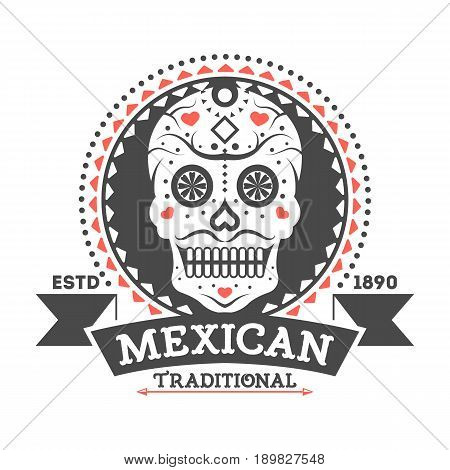 Mexican vintage isolated label with sugar skull. Traditional authentic mexican culture element, national festival event emblem vector illustration.