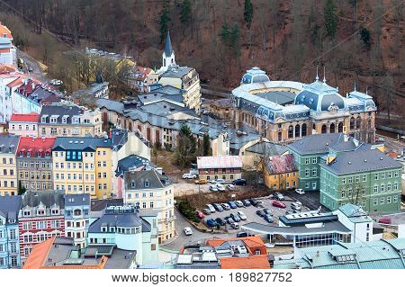 Karlovy Vary, Czech Republic - February 24, 2017: Karlovy Vary, aerial panoramic famous spa town view