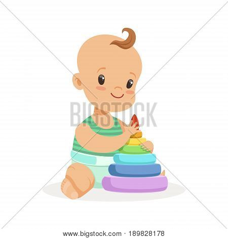 Cute smiling baby sitting and playing with pyramid toy, colorful cartoon character vector Illustration isolated on a white background