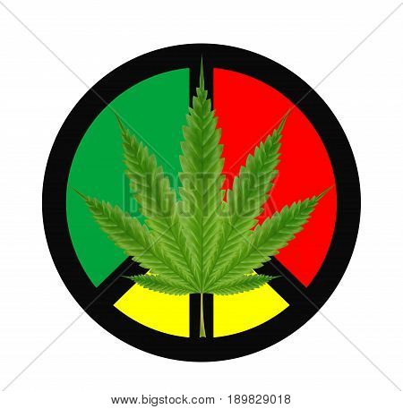 marijuanas leaf on a red green yellow peace logo