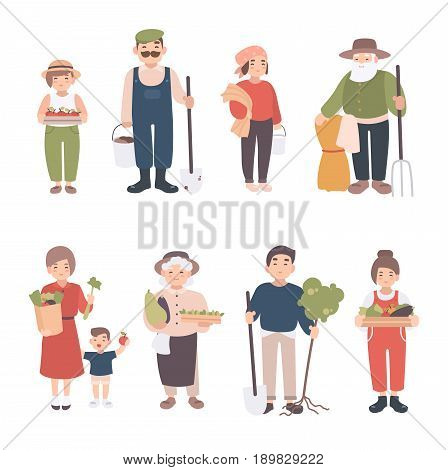 Set of village people. Different young, adult, old farmers and kids. Happy man and woman with seedlings, crops, tools. Colorful vector illustration in cartoon style
