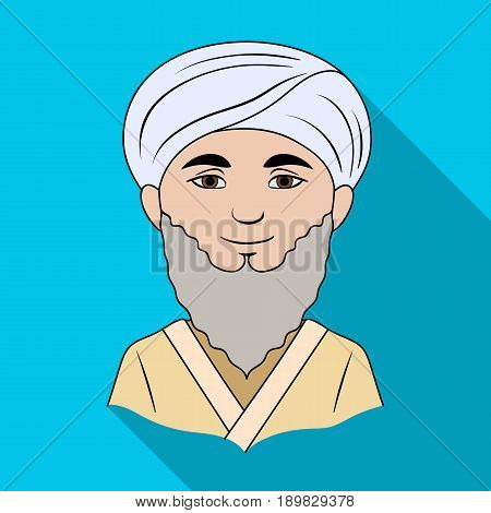 Man from middle Asia.Human race single icon in flat style vector symbol stock illustration .