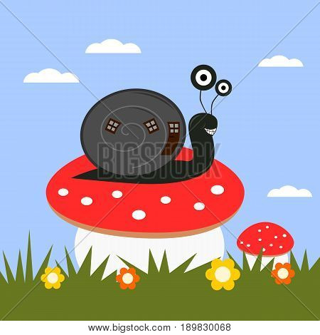 Funny cartoon snail on a toadstool. Creative illustration in childish style.