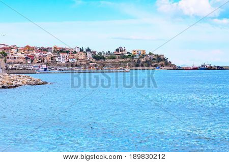 Old city, port and sea view in Kavala, Greece