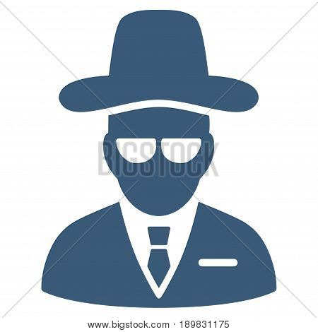 Blue Agent interface pictogram. Vector pictogram style is a flat symbol on diagonal hatch transparent background.