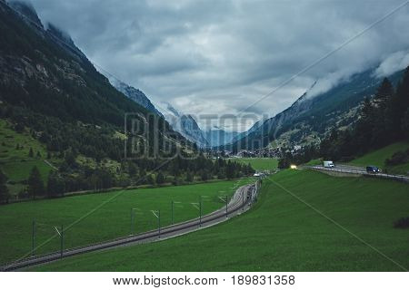 Zermatt mountain railway. Swiss beauty, rack railway under breathtaking Matterhorn, Zermatt, Valais, Switzerland Europe