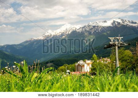 Mountain Village In The Summer. Rosa Khutor, Adler. Morning View Of The Plateau, Hotel Complexes And