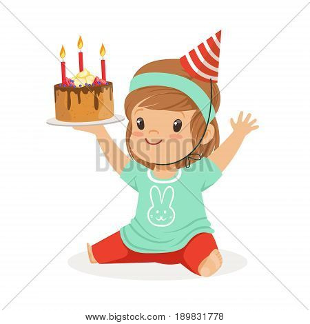 Smiling baby girl wearing a red party hat sitting and holding birthday cake with three candles. Childrens birthday party colorful cartoon character vector Illustration isolated on a white background
