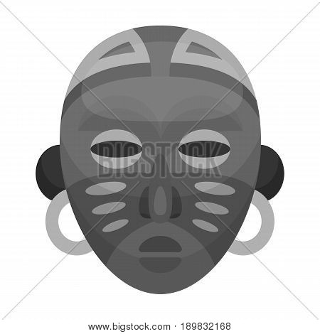African tribal mask.African safari single icon in monochrome style vector symbol stock illustration .