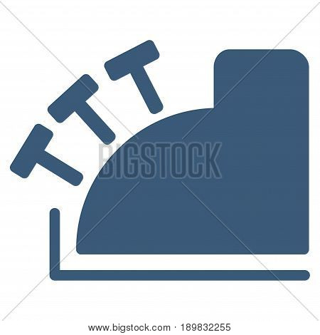 Blue Cash Register toolbar pictogram. Vector pictograph style is a flat symbol on diagonal hatch transparent background.