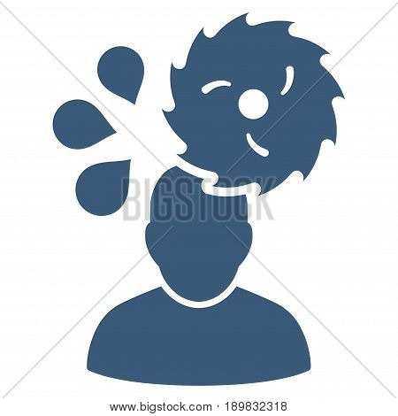 Blue Circular Saw Accident interface toolbar pictogram. Vector pictograph style is a flat symbol on diagonal hatch transparent background.