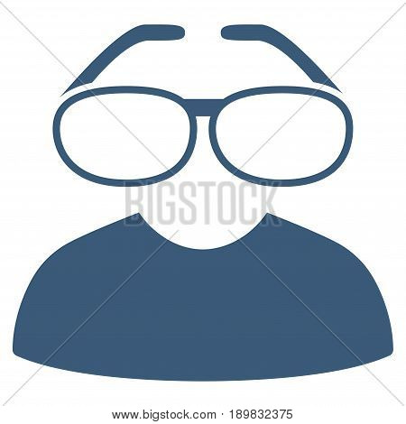 Blue Clever Spectacles toolbar pictogram. Vector pictogram style is a flat symbol on diagonal hatch transparent background.