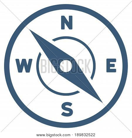 Blue Compass interface pictogram. Vector pictogram style is a flat symbol on diagonal hatch transparent background.