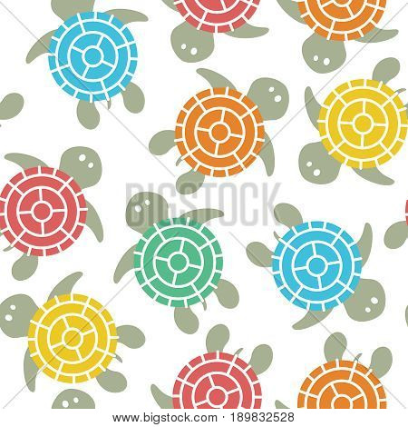 Cartoon vector colorful turtles seamless pattern. Background with cute reptiles. Marine underwater life backdrop