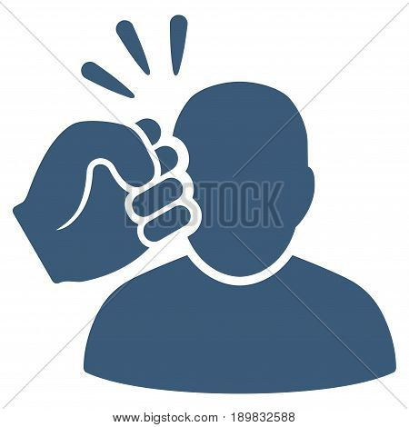 Blue Crime Violation Fist Strike interface toolbar icon. Vector pictograph style is a flat symbol on diagonal hatch transparent background.