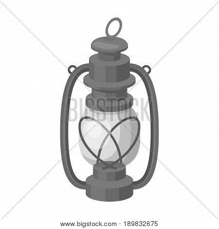 Portable kerosene lamp.African safari single icon in monochrome style vector symbol stock illustration .