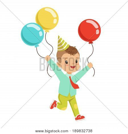 Happy sweet little boy wearing a party hat running with colorful balloons. Childrens birthday party cartoon character vector Illustration isolated on a white background