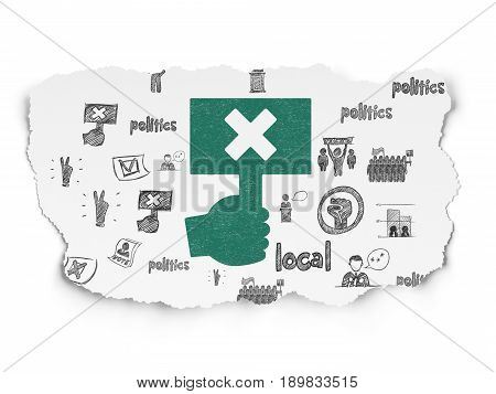Political concept: Painted green Protest icon on Torn Paper background with  Hand Drawn Politics Icons