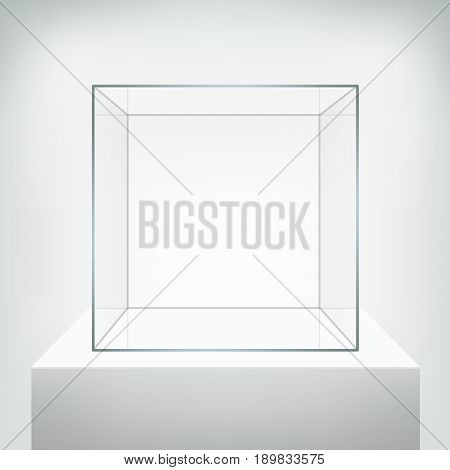 Glass showcase vector. Empty square realistic glass box on podium on white background. Showcase transparent cube form for presentation. 3d style.