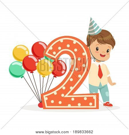 Cute happy baby boy celebrating his second birthday, colorful cartoon character vector Illustration isolated on a white background