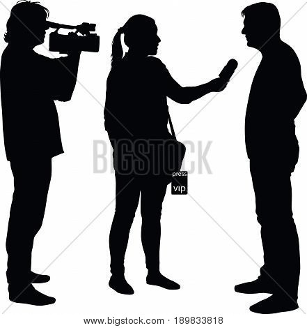 interview with star journalist and cameraman silhouette vector