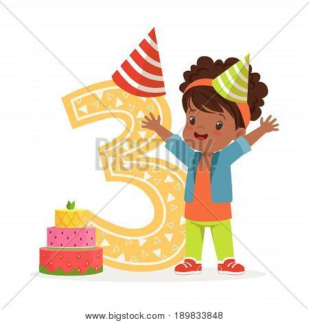 Adorable three year old girl celebrating her birthday, colorful cartoon character vector Illustration isolated on a white background