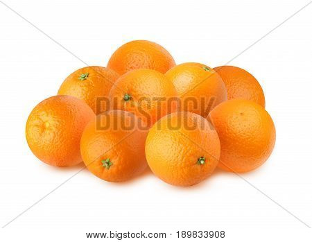 Ripe oranges isolated on white background. A bunch of fruit.