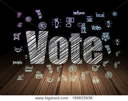 Politics concept: Glowing text Vote,  Hand Drawn Politics Icons in grunge dark room with Wooden Floor, black background