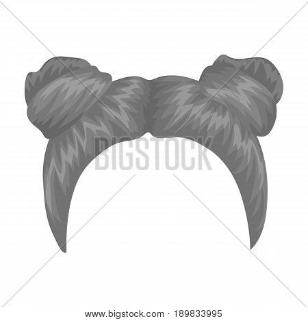 Red with two bobbins.Back hairstyle single icon in monochrome style vector symbol stock illustration .