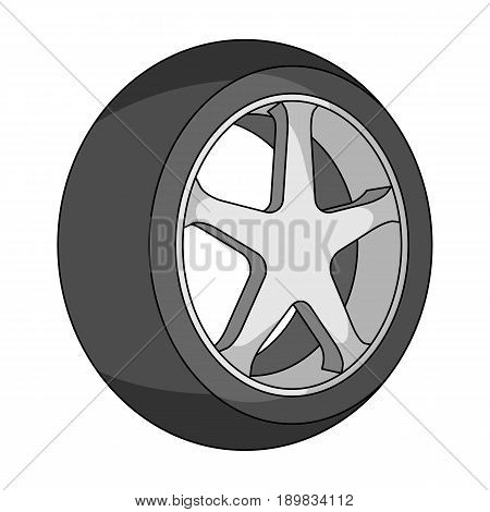 Wheel with a tire cover for the car.Car single icon in monochrome style vector symbol stock illustration .