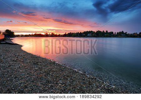Lake sunset in a Slovakia city Senec