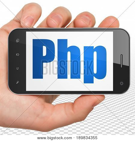 Database concept: Hand Holding Smartphone with blue text Php on display, 3D rendering