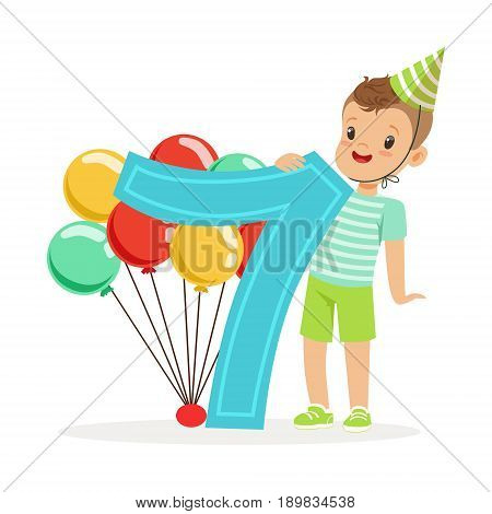 Adorable seven year old boy celebrating his birthday, colorful cartoon character vector Illustration isolated on a white background
