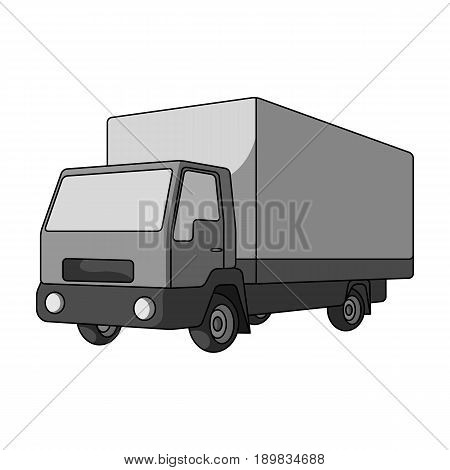 Truck with awning.Car single icon in monochrome style vector symbol stock illustration .